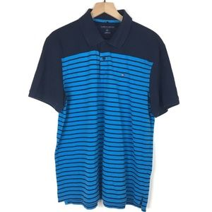 Tommy Hilfiger Polo Men L Classic Fit Stripe Navy